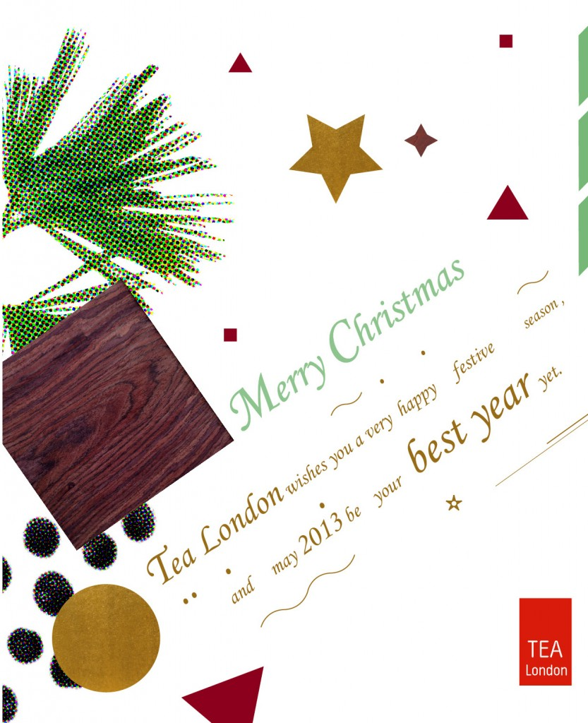 Tea London Christmas card 2012, #3 of a series of 3, designed by Yi-Chun Lin