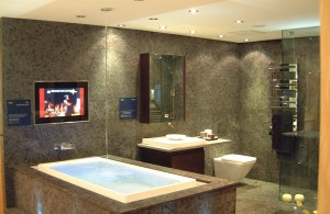 Bathroom TV, using Aquavision
