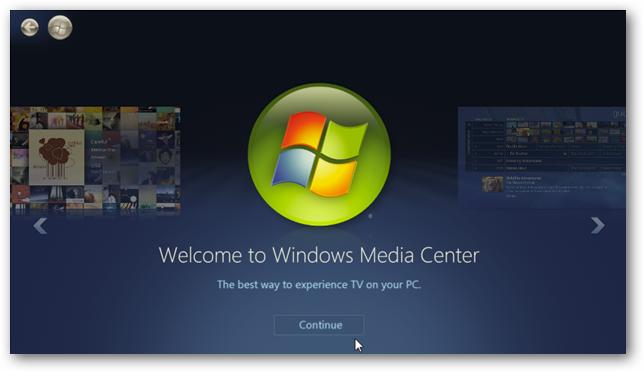 Windows Media Center Start Screen