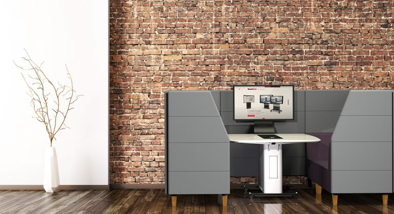 huddle space work pod with video screen and table-top connectivity