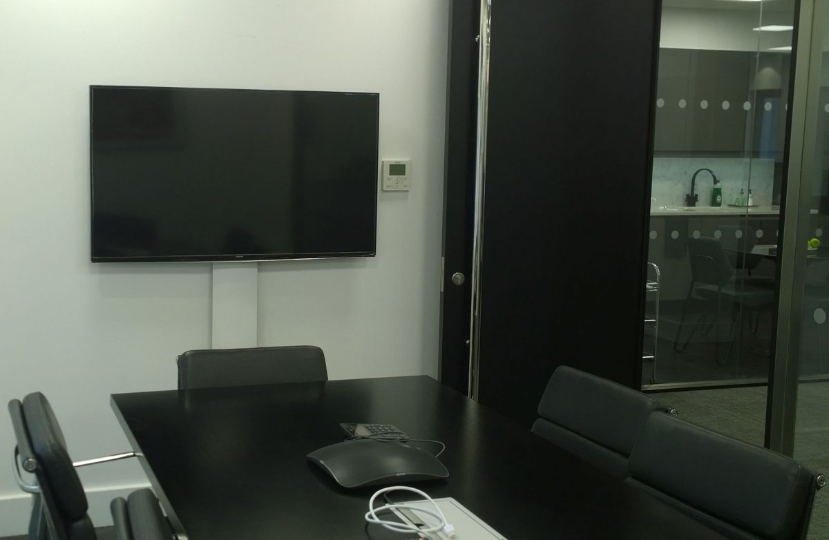 retro fit meeting room av screen and cable
